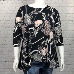 Alfani Black & Pink Floral 3/4 Sleeve Top Size 1X
